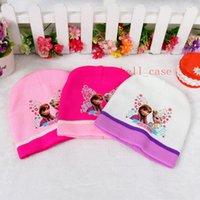 Wholesale Christmas Frozen Beanie Knitting Hats Scarf SET Frozen Hat Elsa Anna Beach Hat Kids Accessories Caps Scarf Suit Snapback Beanie Hat Colors