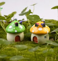 ceramic crafts - 2pcs ceramic garden mushrooms house fairy garden miniatures moss terrariums resin craft garden ornament mushroom dollhouse decor