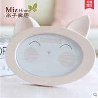baby cat pictures - Miz Home Pink Inch Oval Shape Cat Face Photo Frame Cute Smile Animal Face Resin Wooden for Baby Kid Picture Frames Kids Gift