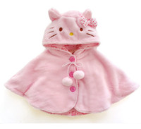 Wholesale 2015 Fashion hello kitty baby girl clothing soft fleece cloak toddler girl clothing cape for outerwear coat baby clothes Y