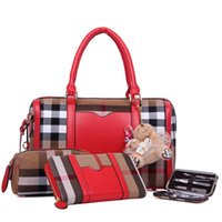 Wholesale Newest Four Piece Boston Bags With PU Inner And Corduroy Decoration Solid Leather Handbags Designer Womens Handbags