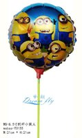 inflatables - New arrived psc a inch minion foil balloon within stick cartoon aluminum balloon inflatable balloon