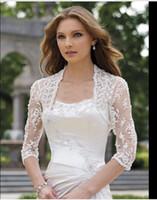 Wholesale Shrug Ivory Wedding Dress - 2016 Elegant shawl lace shrug lace wraps bolero wedding Bridal Jacket bolero jackets bridal bolero lace for wedding dresses