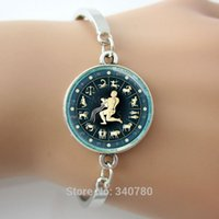 astrological zodiac - Aquarius bracelets bangles Zodiac Jewelry Astrological Symbol January February Birthday Astrology Art Pendant bangles glass dome