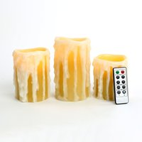 Wholesale 3pcs Heavy Drip Flameless Wax Candles with Remote Battery powered LED Candles Waterproof Candle Light Wedding Christmas Light Gifts