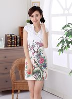 Wholesale new arrival V collar traditional dress Qipao High Graded Women Cheongsam Chinese Short Dresses cotton Floral QiPao D0316