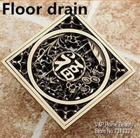 Wholesale 2015 Rushed Lucky Cover Luxury Antique Copper Floor Drain Vintage Linear Shower Filter Water Bathroom Accessories