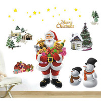 PVC best ws - Fashion cartoon wall stickers Santa Claus Decals Vinyl Sticker Best For Christmas Decoration Drop Shipping HG WS