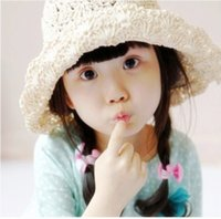 Wholesale 2015 Cute Baby Girl Handmade Knited Flower Summer Outdoor Hat Straw Beach Hat Sun Peternity colors A062611