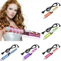 Wholesale 100 V Electric Magic Hair Styling Tools Brush Hair Curler Roller Pro Spiral Curling Irons Wand Curl Styler Beauty Tool