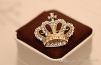 Wholesale Retro Crown Brooch Full White Crystal K Gold Plated High Quality new arrival N7