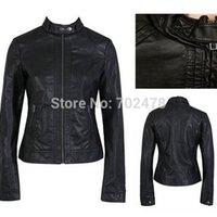 Wholesale 2014 new fashion womens black jacket PU leather jackets plus size brand outerwear jacket dropship wholesalers