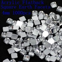 Wholesale New acrylic flatback square earth facets crystal color acrylic rhinestone glue on acrylic beads decorate mm mm mm mm mm