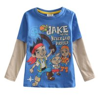 jake and the neverland pirates - Baby boy cartoon t shirts long sleeve Jake and the Neverland pirates clothing nova kids costume new winter childrens clothes A5138Y