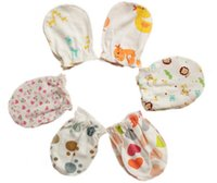 Wholesale 5 Pairs Cotton Baby Infant Mitten Gloves Warm Newborn Anti grasping Glove for Baby Months Have Many Styles