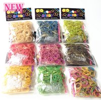 Unisex 8-11 Years Multicolor New Bracelets Loom bands Dual-layer with gold Glitter rubber bands 600pcs +24 S clips +1 hook free shipping