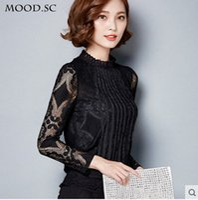 Wholesale 2015 new winter plus thick velvet lace shirt female Korean long sleeved lace blouse large size women
