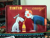 tin sign - 2014 cm cartoon pc The Adventures of Tintin design Tin Sign Coffee Shop Bar Restaurant Wall Art decoration Bar Metal Paintings