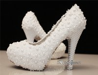white lace wedding shoes - Bridal Crystals Shoes White Lace Wedding Shoes Flower Pearls Custom made CM High Heels Bridal Shoes Waterproof Evening Party Prom Shoes