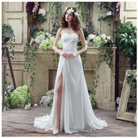 Wholesale 2016 Cheap Wedding Dresses Under Princess High Split Strapless Wedding Dresses With Slit Beaded Crystal Chiffon Beach Wedding Gowns