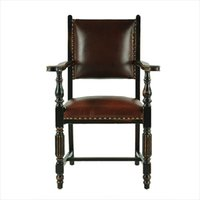 armrest dining chair - Old shanghai solid wood vintage style furniture armrest chair desk chair leather cushion coffee chair dining chair