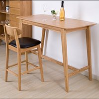Wholesale Simple household bar table modern contracted solid wood white oak sitting room table Nordic style furniture