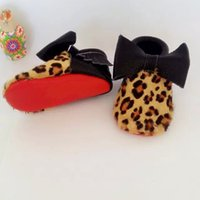 Spring / Autumn baby leopard cheetah - 2015 Leopard Cheetah Pony Fur Real Leather Baby Moccs Red Soft Sole First Walkers Black Double Bow Girls FootWear Sapatoes