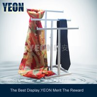 Wholesale YEON Stainless steel white layers with one stand scarf hanger display rack adjustable tie stand bulk order available