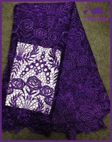 Wholesale Fashionable new African Cord Lace Cotton chantilly water soluble chemical women Guipure French Lace Fabric purple for sewing wedding dress