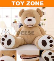 achat en gros de brun en peluche ours en peluche noir-Grossiste-Factory prix 200CM Big bouche ours en peluche peluche vide peluche jouets en peluche jouet géant brun foncé / brun clair