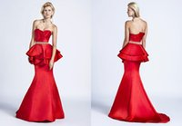 Cheap 2015 Crystals Beading Peplum Tiered Evening Dresses 1092 Vestido Trumpet Scalloped Ruched Satin Backless Spring Formal Celebrity Prom Gowns