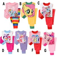 Wholesale 200pcs styles kids girls my little pony pajamas Girls set suits children girl long sleeve cartoon printing pajama pyjamas