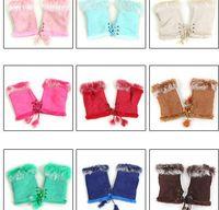 Fingerless Gloves fingerless gloves - Suede Fabric Mitten Women Soft Leather Mitten Rabbit Fur Fingerless Gloves Winter Warm Half Fingers Gloves M1693