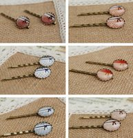 Wholesale Preppy Style Simple Bow Hair Pins Vintage Bobby Pins Glass Cabochon Hair Clips Barrettes fq008