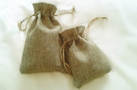 Wholesale Burlap Linen Fabric Drawstring bag candy jewelry Gift Pouch package Gift hessian Jute bags mobile power sack x15cm