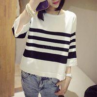Cheap 2014 Women Spring Hot Top Fashion White Black Striped Oversized Tees Casual Loose T-Shirt Tops B11 CB031917