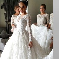 Wholesale Vestidos De Noiva Vintage Indian Muslim Lace A Line Wedding Dresses With Long Sleeves Sheer Appliques Bridal Gowns Arabic Islamic