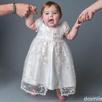 Wholesale Retro Short White Ivory Lace Baby Infant Boys Girls Formal Christening Gown Baptism Robe Dress