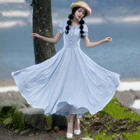 Wholesale Vintage Ruffled Collar Fit and Flare Chiffon Dress Puff Sleeve High Quality Light Blue