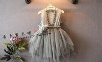 Cheap 2016 New Hug me korean spring summer girls clothes girls princess party layers of lace feather dress girls wedding dress accept size choose