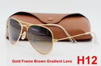 achat en gros de mens lunettes de soleil gradient brun-1pcs hommes de haute qualité pour les femmes Gradient lunettes de soleil lunettes de soleil lunettes de soleil or marron 62mm verre lentilles avec de meilleurs cas brun