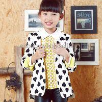 Cheap 2014 Fall New Kids Coat Heart Shape Printed Formal Girls Overcoat Children Clothes Wholesale OC41120-9