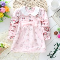 cute dress - Baby girl dresses autumn long sleeve children pure cotton flower bow dress cute kids clothes LD137