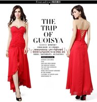 beaded cock - Red Cocktail Dress Sexy Short Front Long Back Beaded Sweetheart Chiffon Lace Up Party Dress Cock Womens Strapless Cocktail Gown