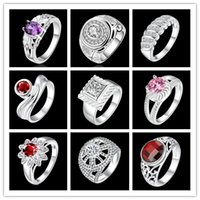 Wholesale 2016 beautiful new design Sterling Silver AAA Zircon ring mixed styles of fashion jewelry wedding gift