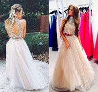 Wholesale Two Pieces th grade Prom Dresses Graduation Dresses A Line Beading Top Tutu Skirt High Neck Homecoming Party Gowns vestido longo piece