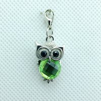 plastic charms - Hot Sale Fashion Charms Color Plastic Crystal Owl Lobster Clasp Charms Animals DIY Jewelry Accessories