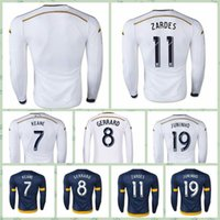 Wholesale Top Fast JUNINHO LA Galaxy DONOVAN JUNINHO ZARDES GERRARD Beckham White Blue Long Sleeve Soccer Jersey