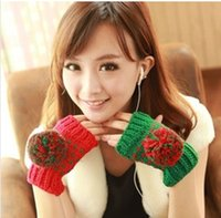 ab gloves - Warm winter wool gloves lovely ovo ball wool gloves half finger gloves exposed AB Style