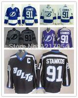 bay c - Factory Outlet NHL Tampa Bay Lightning Steven Stamkos Black Bolts Third Blue Jerseys Charcoal Cross Check Jerseys White Purple C Pa
